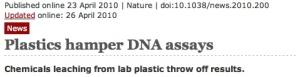 Contaminated plastics hamper DNA assays Nature